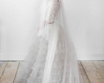 Wedding Veil, Silk Wedding Veil, Silk Tulle Drop Veil, Silk Tulle Floor Length Veil, Drop Veil