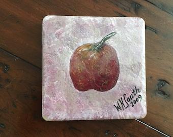Hand Painted Ceramic Tile...Signed.....Apple...Original
