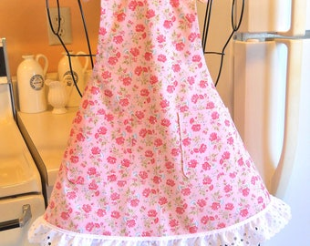 Little Girl's Pink Apron with Pink Roses