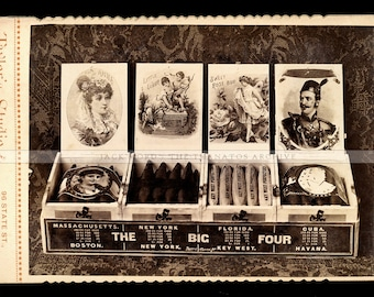 Very Rare c.1890 Cigar Advertisement / Advertising Cabinet Card Photo - Chicago