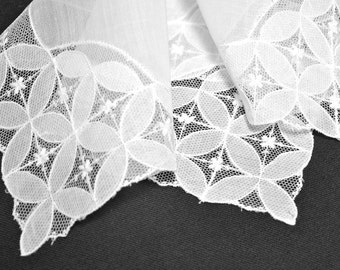 WEDDING HANKIE, Vintage White Irish Linen, French Tambour Lace Borders and Deep Corners, Tailored, Unusual Design, Geometric, Contemporary
