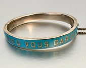 Antique French Blue Enamel Sterling Silver Bracelet. Engraved Dieu Vous Garde (God Keep You). Edwardian Silver Cuff Hinged Bangle C1910