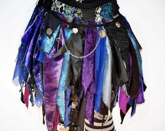 Blue Tattered Skirt, Pixie Skirt, Fairy Skirt, Goth Skirt, Festival Skirt, Costume Skirt, Upcycled Skirt, Gypsy Skirt, Halloween Skirt