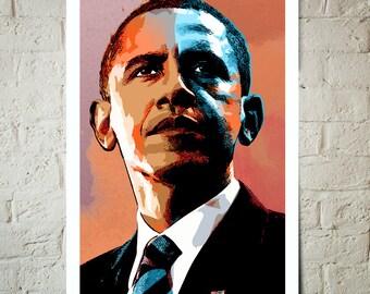 Barack Obama, American, President, Art print, Portrait, illustration, Poster size, Classroom Decor, Americana Decor, US President
