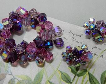Signed VOGUE Amethyst & Pink Large Crystal Bracelet and Clip On Earrings Set    OAE7