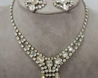 Vintage Clear Rhinestone Dangle Necklace & Earrings    OAT16