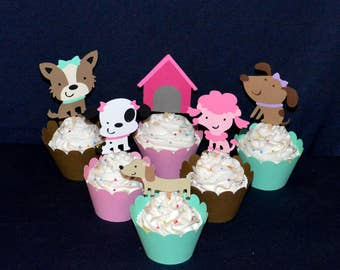 Puppy Dog Cupcake Toppers READY to SHiP Puppy Birthday Pawty Food Picks Pink Mint Brown Decor Terrier, Poodle, Daschund, Dalmation, Mutt
