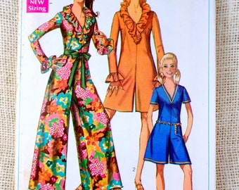 Vintage Simplicity 7956 pattern Jumpsuit 1960s palazzo sewing pantsuit Bust 34 Ruffled v neck Romper Mod Groovy Mad Men hippie