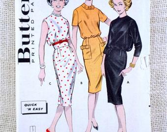 Vintage sewing Pattern Butterick 8827 Blouson wifggle dress bows empire belt 1950s Bust 32 Rockabilly Retro uncut Mad Men