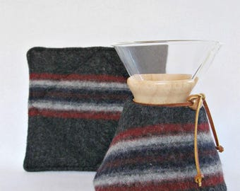 Chemex Sweater Cozy and Warming Pad-Repurposed  Felted Wool-Fits 6 cup with wooden collar-Charcoal with stripes-OOAK-Farmhouse Kitchen Decor