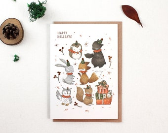 Christmas Card - Happy Holidays with Woodland Elves - Copper Foil Greeting Card