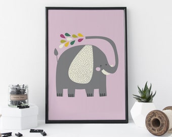 Elephant Baby Print, Cute Animal Art, Baby Gift, Nursery Art, Home Decor - 8 x 11 Print