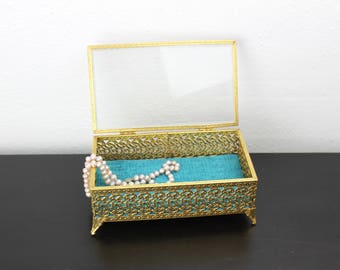 Vintage Gold Filigree Jewelry Box with Glass Lid, Gold and Teal, Glam Old Hollywood Regency Style, Boudoir Decor, Dresser Top 390016