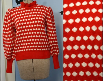 Vintage Women's 80s does 40s Red and White Polka Dot Sweater with Puff Sleeves Pinup 80s Weather Knit Size Large