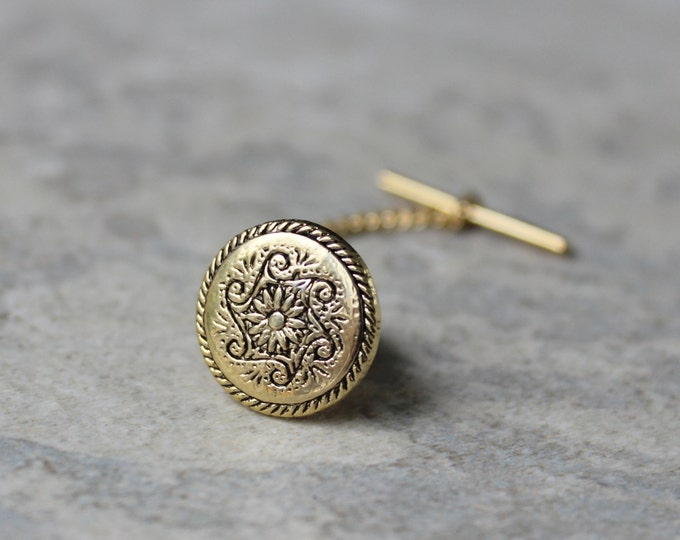 Tie Tack Pins, Mens Gold Tie Pin with Anchor Chain, Mens Tie Tacks, Mens Tie Pins, Inexpensive Gifts for Him, Gifts for Men, Clutch Pin
