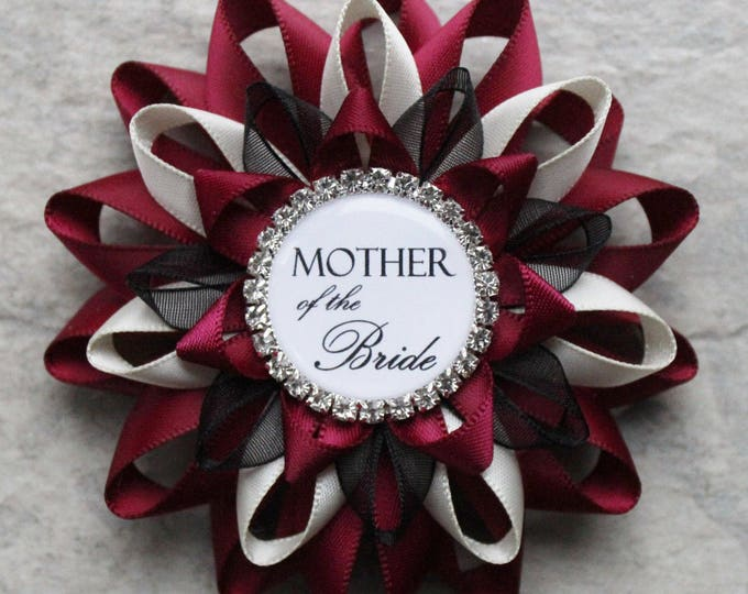 Bridal Shower Decor, Bridal Shower Corsage Pins, Bridal Shower Gift for Mother of the Bride, Mother of the Groom, Maroon, Wine, Ivory, Black
