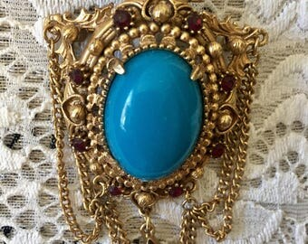 Vintage 1950s FLORENZA Victorian Revival Style Faux Turquoise Brooch, Mid Century Jewelry, Estate Pin