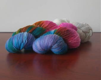 Hand Dyed Fingering Weight Superwash Merino Nylon Sock Yarn-Unicorn Farts 462 yards