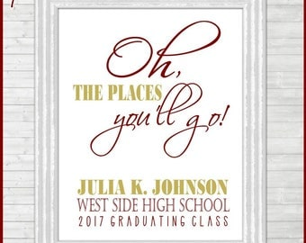 PERSONALIZED 2017 Graduation Art, Oh the Places You'll Go Graduation Announcement, GRAD GIFT, Personalized Graduation Gift Idea - Printable