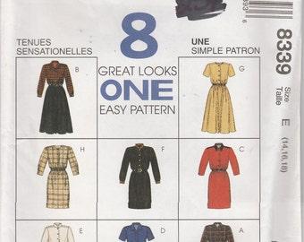 Easy Dress Pattern 8 Great Looks Misses Size 14, 16, 18 uncut McCalls 8339