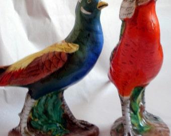 Ugo Zaccagnini Vintage Italian Porcelain Pheasant Figurines Imported by Koscherak Brothers  New York Art Pottery Ceramics Italy Majolica