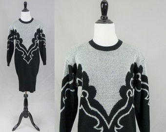 80s Sweater Dress - Black Silver Metallic Knit - Shoulder Pads - Dressy Tessy - Dated 1986 - Vintage 1980s - M