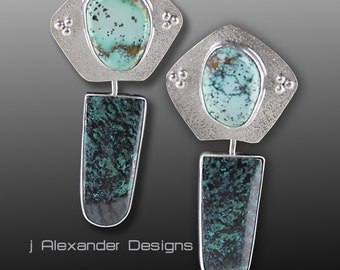 Kenetic Dangle Sterling Silver Earrings with Dendritic Turquoise and Chrysocolla