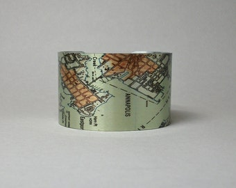 Annapolis Maryland Map Cuff Bracelet Unique Gift for Men or Women