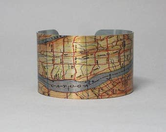 Cayuga Lake Auburn Ithaca New York Finger Lakes Map Cuff Bracelet Unique Custom Gift for Men or Women