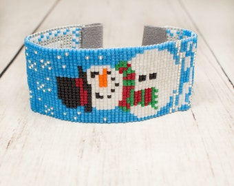 Snowman Bracelet - 4th of July - Beaded Bracelet - Seed Bead Bracelet - Womens Gifts - Holiday Bracelet - Under 25 - Gifts For Her