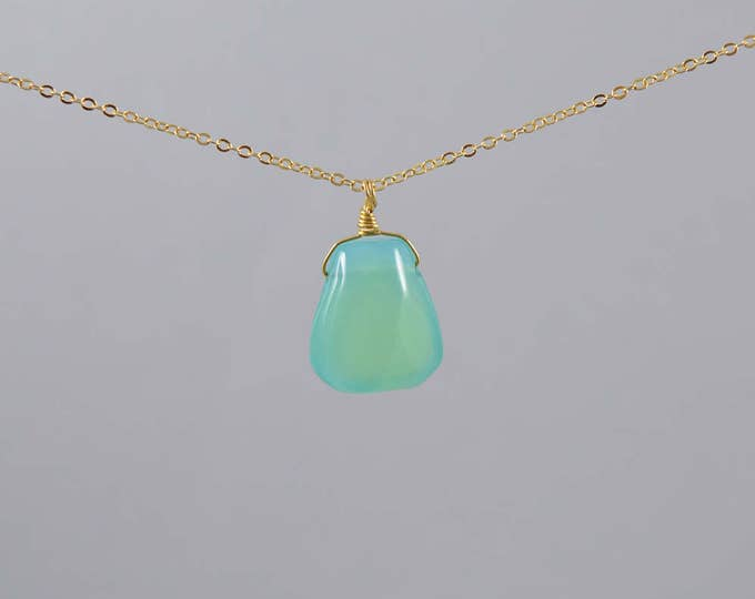 Chalcedony Large Briolette Necklace, Aqua Chalcedony Pendant, Layering Necklace, Minimalist, Chalcedony Crystal Necklace, Chalcedony Jewelry