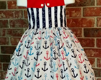 Patriotic Dress 4th of July dress Memorial Day Dress Nautical Dress