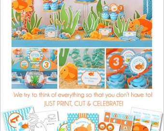 Pool Party Decoration | Goldfish Birthday Party | Goldfish Party Printable | Boys 1st Birthday | Under the Sea Party | Amandas Parties To Go