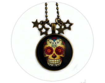 Mexican Skull Sugar Skull Brass Necklace and Stars - Round Pad Pendant