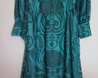 Vintage 1970s turquoise and black paisley maxi dress with sheer sleeves
