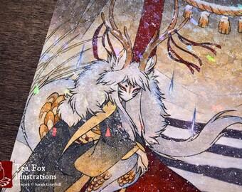 Discontinued / A4 Gloss Sparkle Print / The Summit Gate / Kirin Deer Yokai / Japanese Asian Style