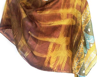 Gold scarf Birthday gift Mustard yellow scarf Gold scarf Long scarf Silk shawl Handmade scarf Habotai silk Indian scarf Best Selling item
