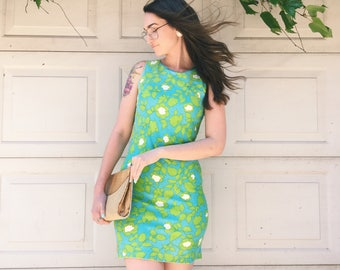 FREE SHIPPING!: Vintage 1960's Aqua & Green Sleeveless Shift Dress With Floral Pattern