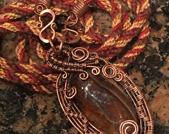 Handmade Forged Copper Agate Pendant Fiber Necklace