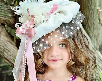 Ivory and Dusty Rose, Vintage Hat, Veil, Girl's Hat, Flower Girl, Weddings, Photo Shoots, Tea Parties, Birthday Parties and Dress up