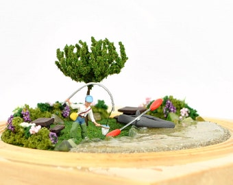 Day At The Lake - Miniature Garden Fishing Diorama Vacation Memorabilia Fishing Gift Desktop Garden Handmade