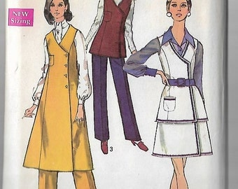 Vintage Sewing Pattern Simplicity 8662 1970s Jumper,Tunic,Skirt, Pants, Size 12 Bust 34