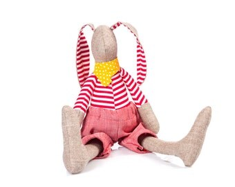 Wool Beige stuffed bunny doll toy , cuddling rabbit doll ,in red striped shirt  & Yellow dotted scarf -eco timohandmade doll for boy or girl