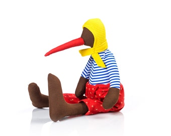 Stuffed Animal , brown bird doll - plush duck doll in yellow hood hat , blue stripes shirt & red corduroy - handmade doll , Stocking stuffer