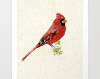 Northern Cardinal Giclée Print, Cardinal Giclée, Home Decor, Watercolor Giclée, Wall decor