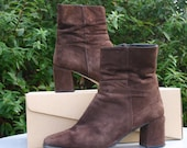 Brown Suede Ankle Boots 1990s Vintage