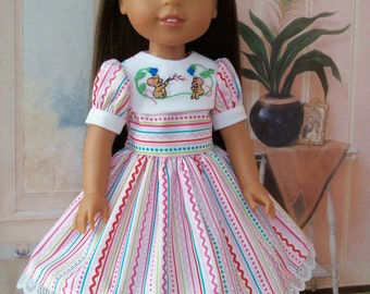 "Embroidered Valentine Dress and Shoes for American Girl Doll 14"" Wellie Wishers® / Wellie Wisher® Doll Clothes"