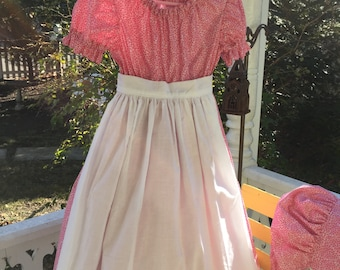 Ships Today -Pioneer, Prairie, Colonial  Felicity, American Girl Costume -   Girls Sz  4-5
