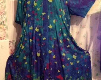 EXTRA LARGE, Dress, Colorful Bohemian Hippie Flowerchild Lightweight Floral Boho Long Maxi Dress