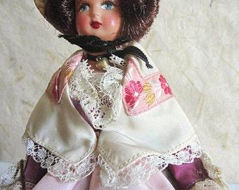 French Celluloid Costume Doll, Toulouse, folk doll, vintage, France, vintagefr, French Riviera, violet seller